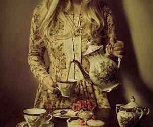 tea, girl, and vintage image