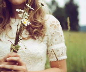 flowers, daisy, and lace image