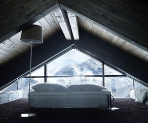 mountains, bed, and bedroom image