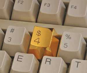 gold, keyboard, and money image