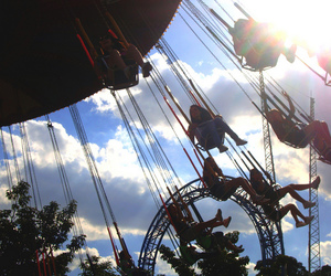 amusement park, people, and fun image