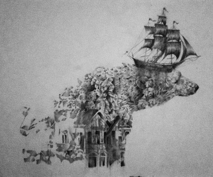 art, ship, and bear image