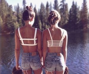 best friends, bikini, and fashion image