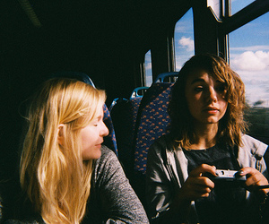 girl, friends, and bus image