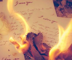 burning, flames, and love letter image