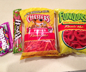 funyuns, skittles, and snacks image