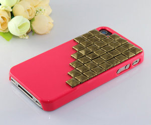 iphone, pink, and studs image