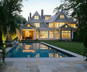 architecture, private swimming pool, and lattice wooden ceiling image