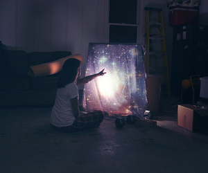 galaxy, stars, and girl image