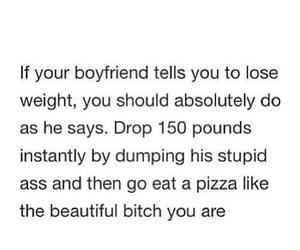 boyfriend, quote, and pizza image
