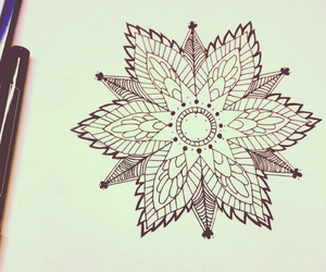 drawing, flower, and geometric image