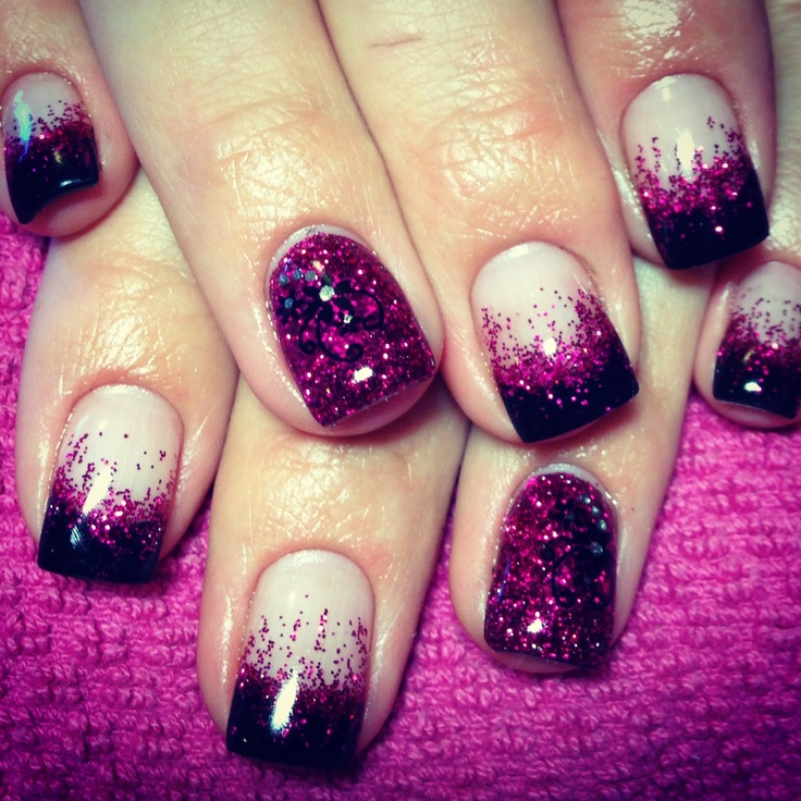 Black tip, pink glitter fade, gel nails with glitter feature nail ...