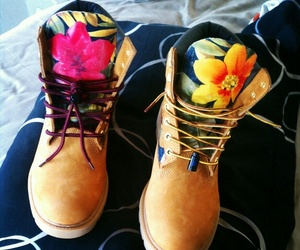 timberland, flowers, and shoes image