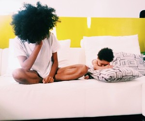baby, Afro, and family image