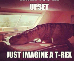 t-rex, funny, and upset image