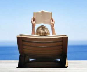 blonde, book, and Sunny image