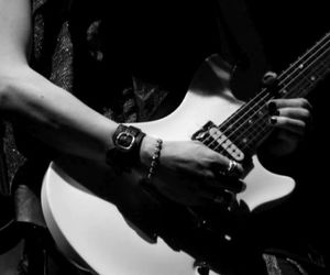 black and white, guitar, and guitarist image