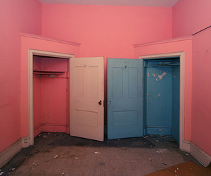 pink, door, and pale image