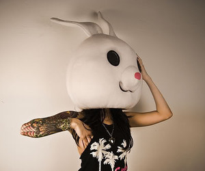 girl, tattoo, and rabbit image