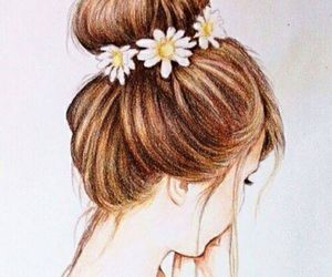draw, hair, and flowers image