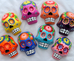 skull, colorful, and flowers image