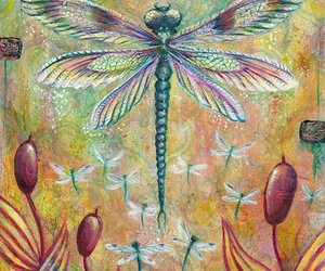 cattails, dragonflies, and dragonfly image