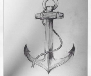 anchor, black and white, and dessin image