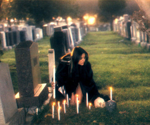 witch, candles, and graveyard image