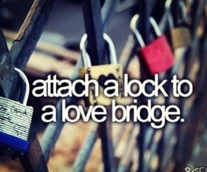 love, lock, and bridge image