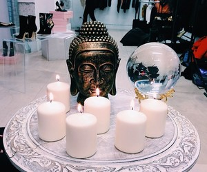 candle, Buddha, and decor image