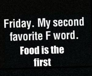 friday, food, and word image