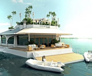 boat, house, and sea image