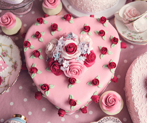 pink, cake, and heart image