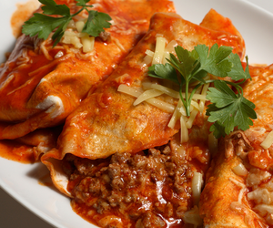 beef, enchiladas, and mexican food image
