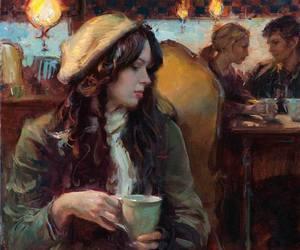 art, girl, and coffee image