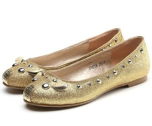 gold ballet shoes, mouse ballerina flats, and girl flat shoes image
