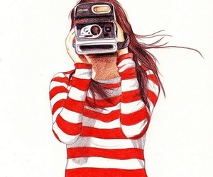girl, camera, and draw image