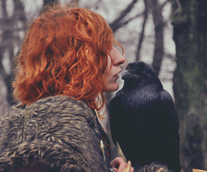 girl, raven, and redhead image