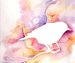 aquarel, bird, and leaves image