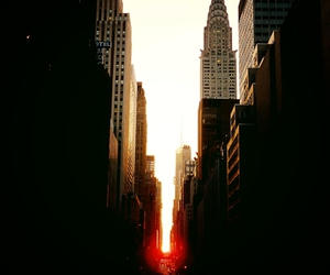 city, manhattan, and sunset image