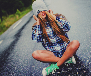 girl, blonde, and converse image
