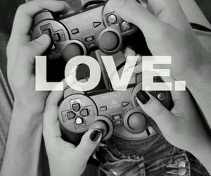 black and white, couple, and video games image