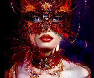 mask, costume, and girl image