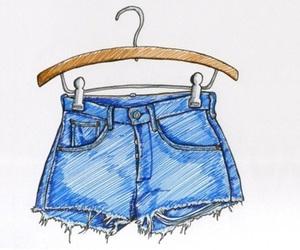 shorts, drawing, and pink image