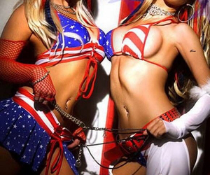america, blue, and girls image