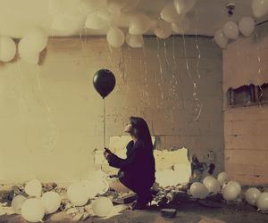balloons, black, black balloon, room, white - inspiring picture on Favim.com