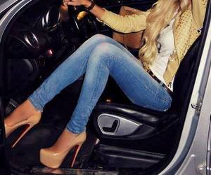 heel, style, and jeans image