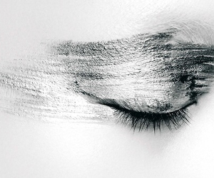 black and white, eye, and makeup image