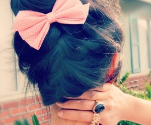 bow, pink, and brunette image