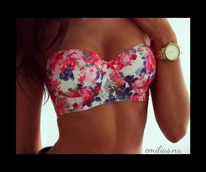 bra, flowers, and girl image